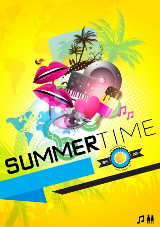 SummerTime Party Poster -  vector Illustration  Vector