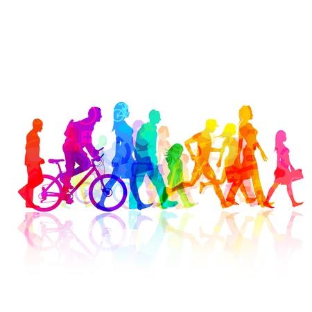 caminar: Varias personas de forma moderna - ilustraci�n vectorial
