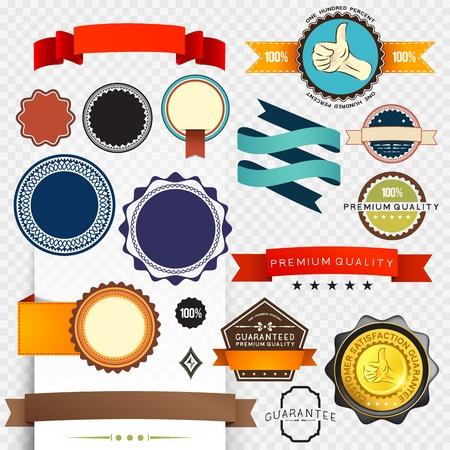 label: Retro Label Collection - gegroepeerde objecten Stock Illustratie