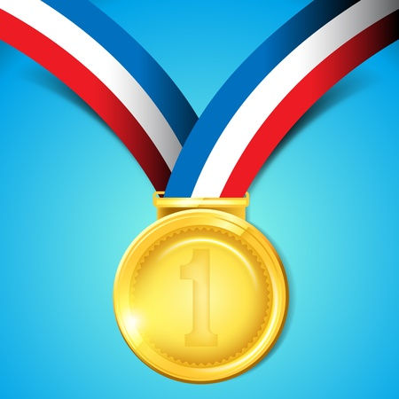 one by one: Number One Gold Medal - Vector Illustration
