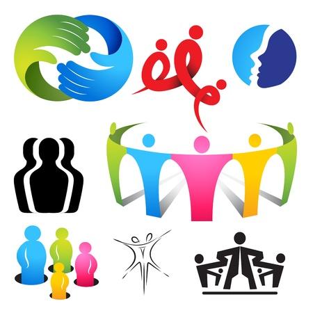 Een verzameling van het verbinden van mensen iconen en symbolen