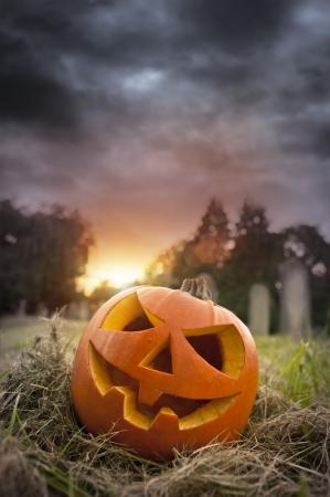 On Hallows Eve - Jack-O-Lantern on Halloween evening photo