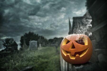gust: Spooky Jack O Lantern on Halloween night Stock Photo