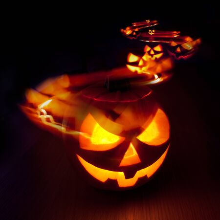 Halloween Jack - O - Lantern light trails photo