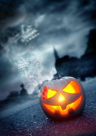Halloween Background, Jack - O - Lantern in a spooky graveyard