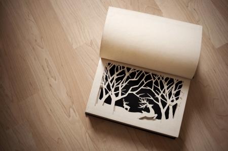 paper craft: Historias de Navidad - Escena del invierno en un libro