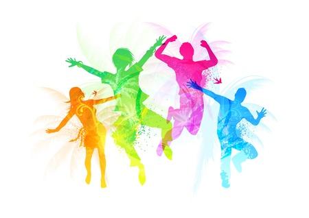 juventud: Gente saltando Vectores