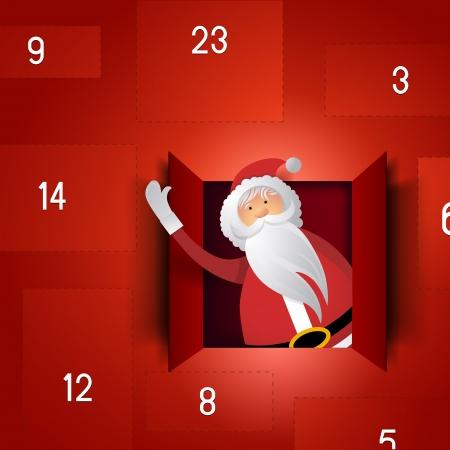 december kalender: Kerstman Advent Calendar Stock Illustratie