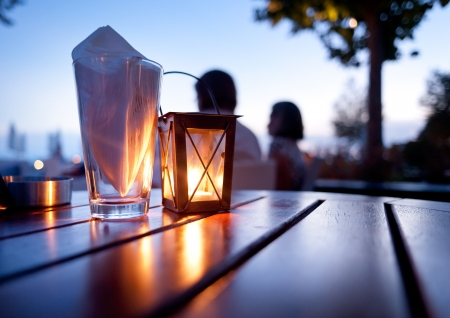 candle dinner: Mediterranean Restaurant Table - Dinner table outdoors