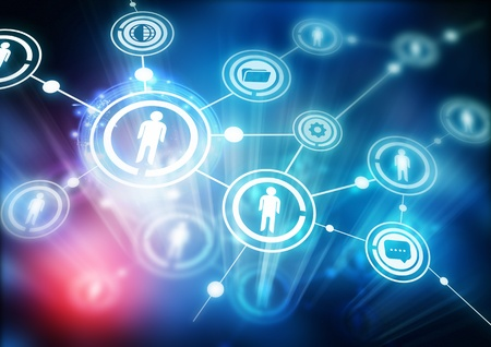 Network Community - Illustration with connected people. Stock Photo