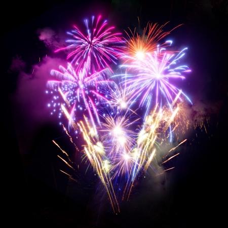 fuegos artificiales: Unos fuegos artificiales exhibici�n grande del evento.