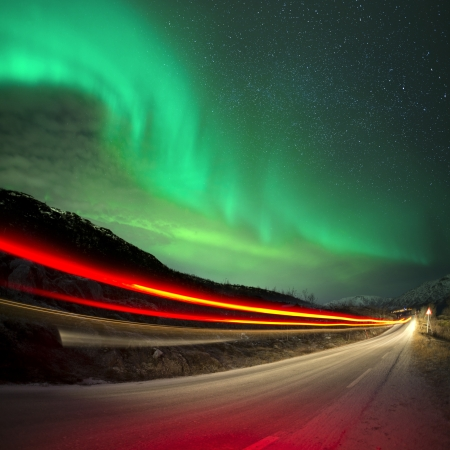 light trails: Northern Lights and trails, Northern Norway