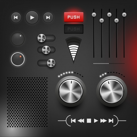 media player: Black style user interface, vector illustration, layered