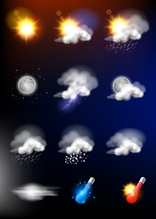 weather icons: Complete set of modern realistic weather icons  Illustration