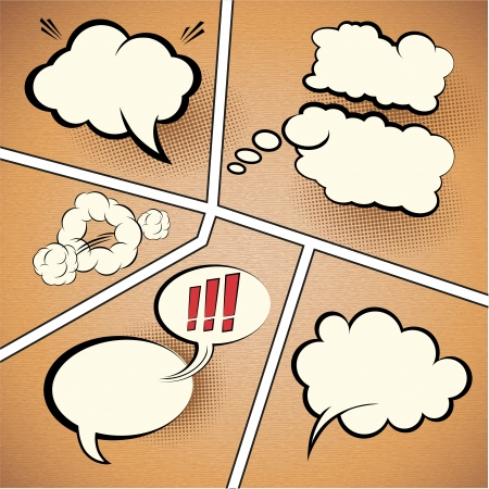 comic strip: Comic Strip Speech Bubbles on textured paper, vector illustration