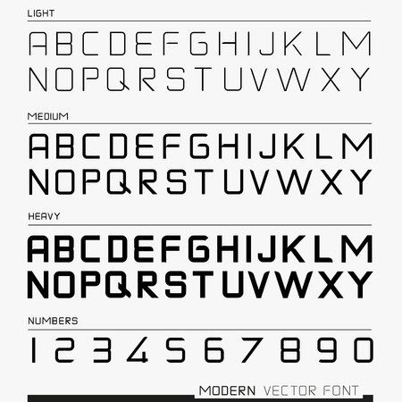 typeface: Modern Font, with numbers and the alphabet  illustration