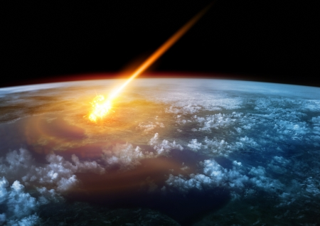 meteor: A Meteor glowing as it enters the Earths atmosphere Stock Photo
