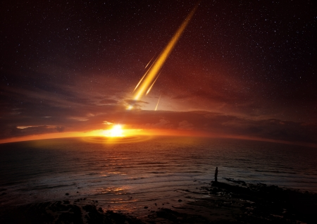 kilometre: A six mile (10 kilometre) wide meteor seconds before impacting Earth.