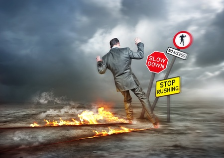 Business concept - Hurry Up en Slow Down Stockfoto