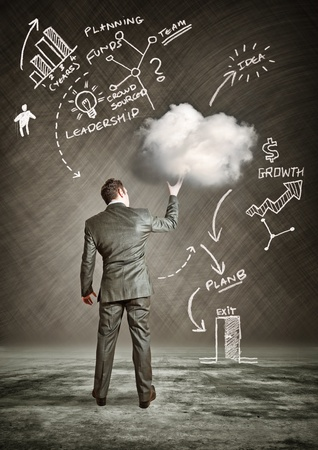Business Cloud  A businessman holding a cloud idea  photo