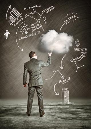 liderazgo: Nube de negocios Un hombre de negocios la celebraci�n de una idea nube Foto de archivo