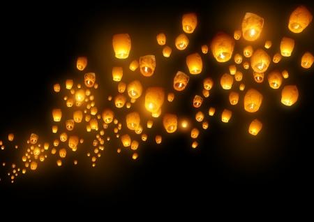 chinese lanterns: Mass group of flying wishes  chinese lanterns  Stock Photo