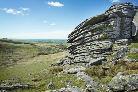 rugged terrain: Rugged British terrain landscape, Dartmoor National Park