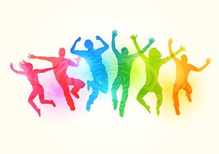 young people group: La gente che salta - illustrazione