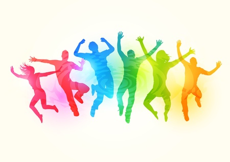 group fitness: People jumping  - illustration