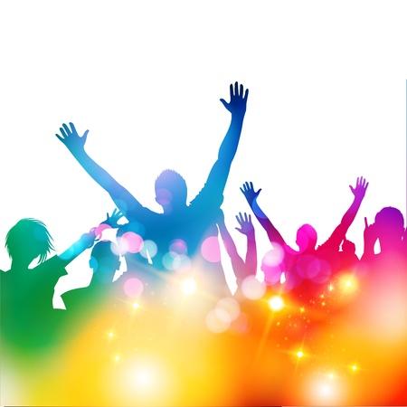 concierto de rock: El público del festival, la ilustración Vectores
