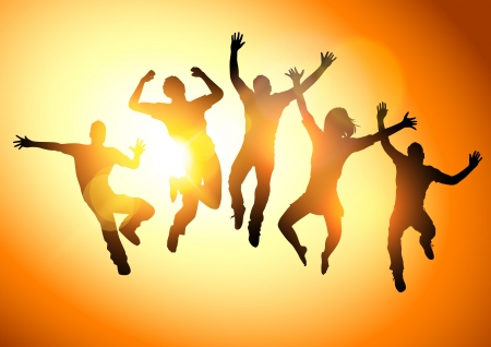 happy people: Jumping Into The Sun  People jumping  -illustration