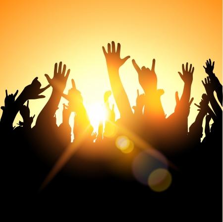 rock concert: Una folla festival, illustrazione Vettoriali