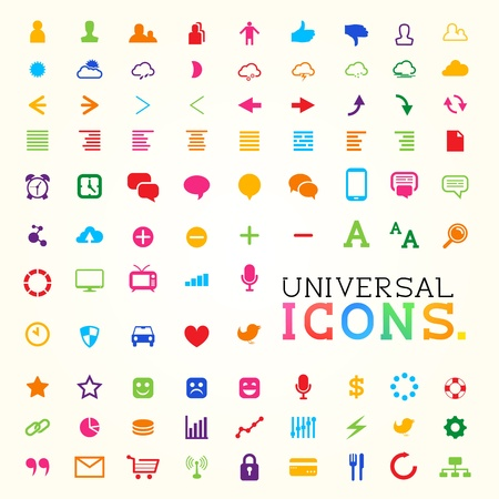 Colourful Icon Set,  illustration  Vector