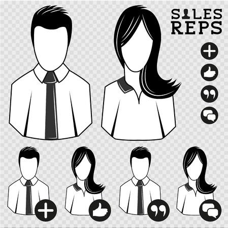 sales rep: Sales Representatives  People Icon Illustration