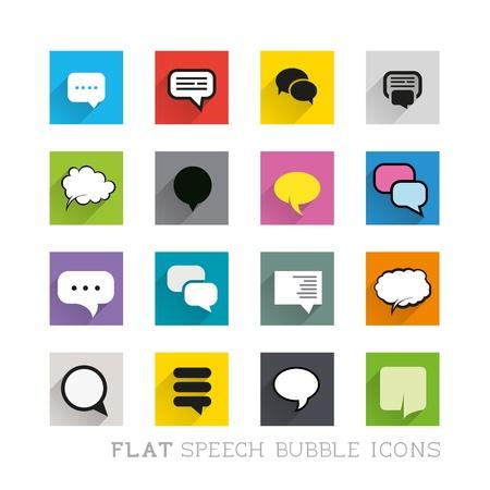 organised: Flat Icon Designs - Speech bubbles. Layered vector illustration. Illustration