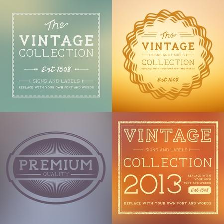 advert: Vector Vintage Labels collection. Layered vector illustration. Illustration