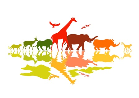 Wildlife Safari - Wild animals vector illustration.