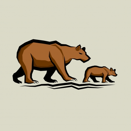 Brown Bear and Cub vector illustration. Vector