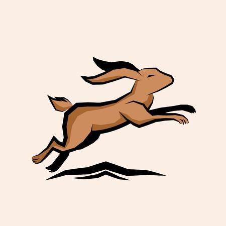 Jumping Hare Vector illustration.