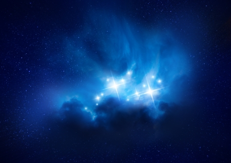 dust cloud: Beautiful rich blue young star formation nebula