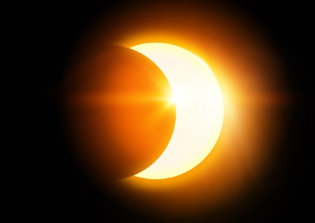 eclipse: The Moon covering the Sun in a partial eclipse. Stock Photo