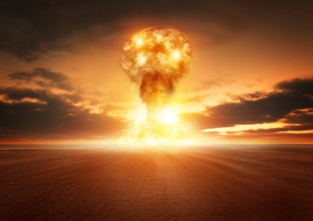 A modern nuclear bomb explosion in the desert. Stock Photo