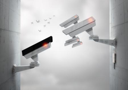 cctv: Seguimiento entre s� las c�maras de vigilancia, con las aves que vuelan en la distancia. Foto de archivo