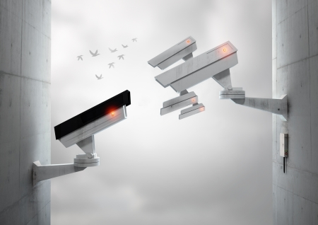 Surveillance cameras monitoring each other, with birds flying in the distance. Stock Photo