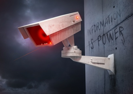 cctv camera: State of Security A futuristic tracking and identity camera Stock Photo