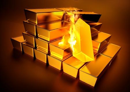 Red Hot Bullion Gold - A stack of bullion gold bars. photo