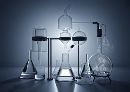 konzepte: Das Chemie-Labor. Verschiedene Glas Chemie Laborgeräte