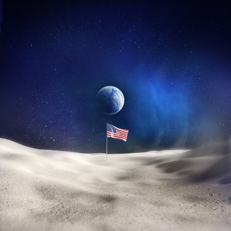 moon crater: An American Flag on the Moon with the Earth in the background. Stock Photo