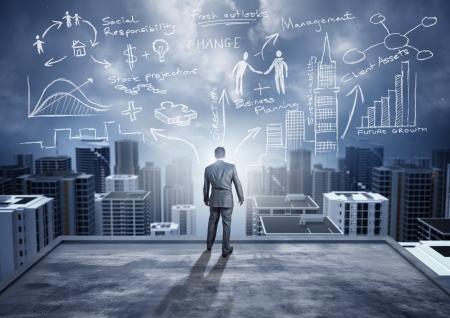 ビジネスのアイデア - 概念。ビッグ アイデアが付いている都市を見ている実業家。