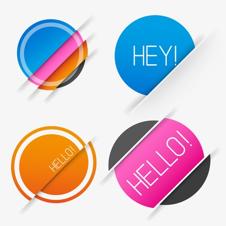 Sliced Circle Vector Elements, set of four vector labels. Stock Vector - 21817000
